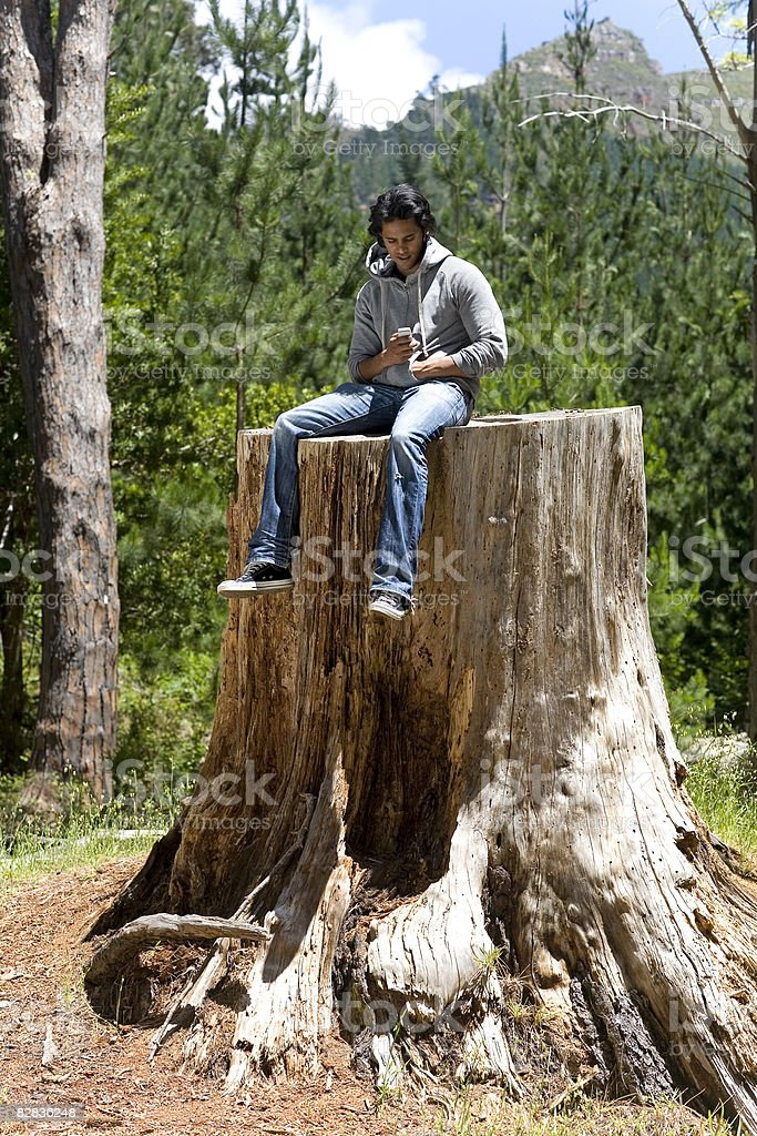 man with his phone royalty free stockfoto