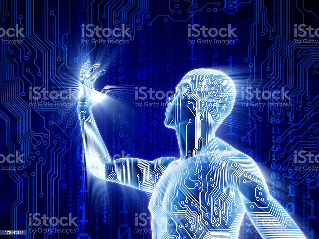 Man with hi-tech circuit theme royalty-free stock photo