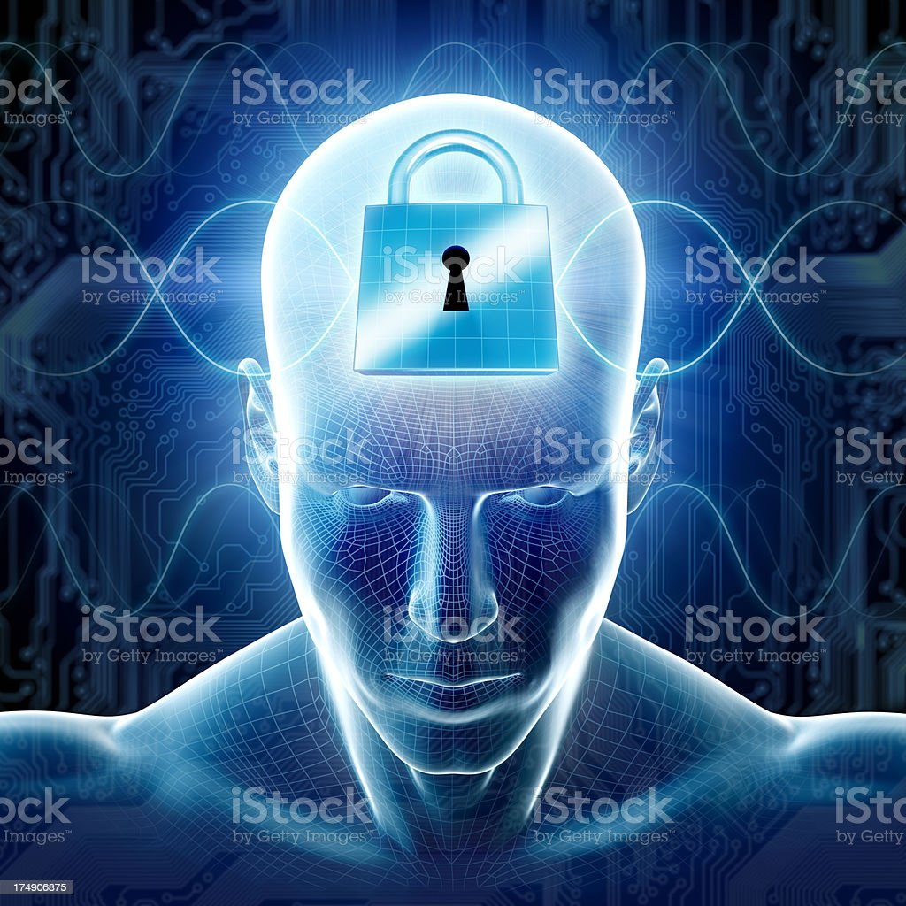 Man with hi-tech cyber security theme and lock stock photo