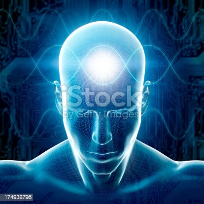 istock Man with hi-tech cyber theme and sinus waves 174936795