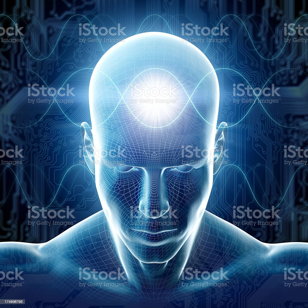 Man with hi-tech cyber theme and sinus waves stock photo