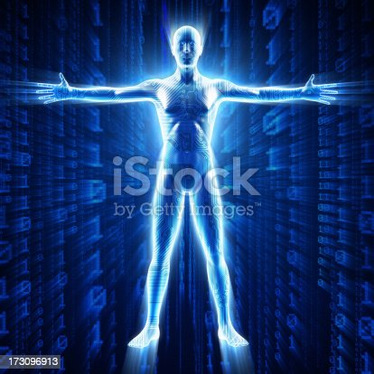 istock Man with hi-tech cyber theme 173096913
