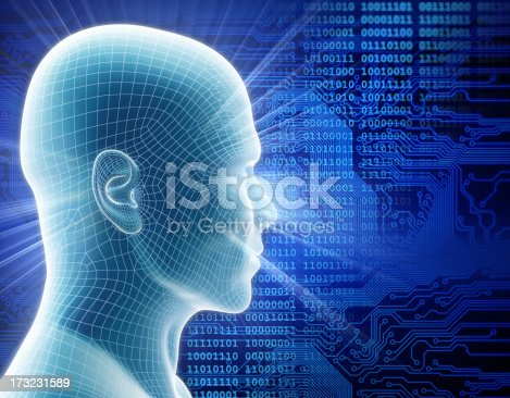 istock Man with hi-tech cyber theme 173231589