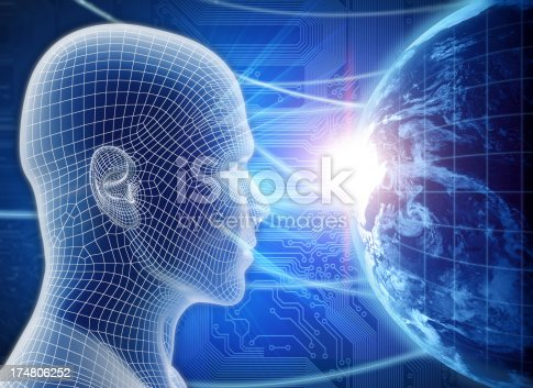 istock Man with hi-tech cyber theme 174806252