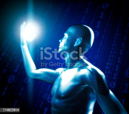 istock Man with hi-tech cyber theme 174822814