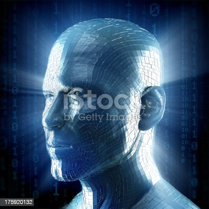 istock Man with hi-tech cyber theme 175920132