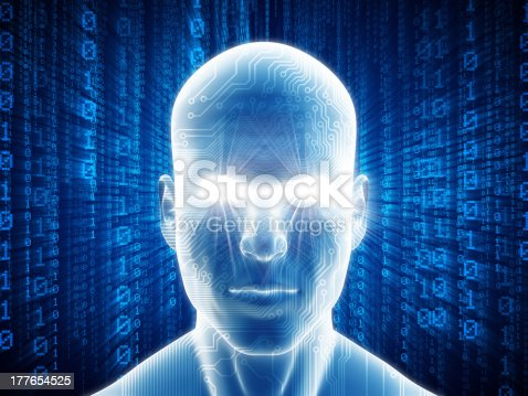 istock Man with hi-tech cyber theme 177654525