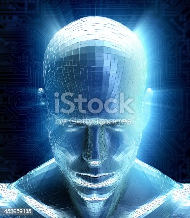 istock Man with hi-tech cyber theme 453659135