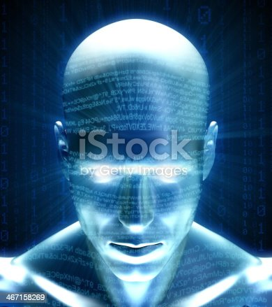 istock Man with hi-tech cyber theme 467158269