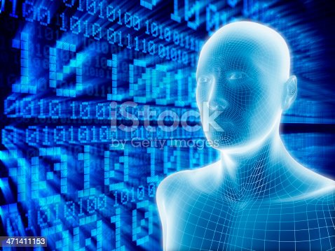 istock Man with hi-tech cyber theme 471411153