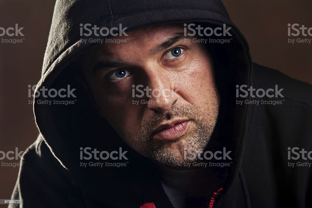 man with hood royalty-free stock photo