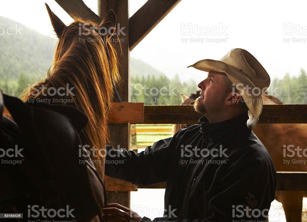 Hombre con caballo en barn foto de stock libre de derechos