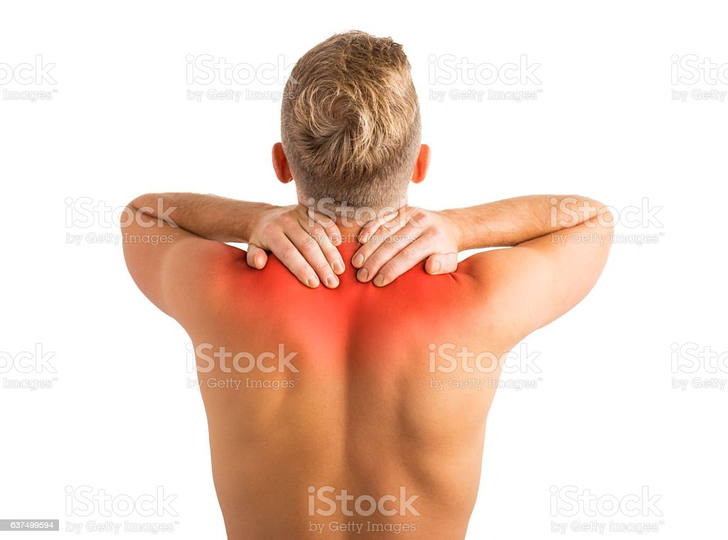 Man with hurting shoulders and upper back problems stock photo