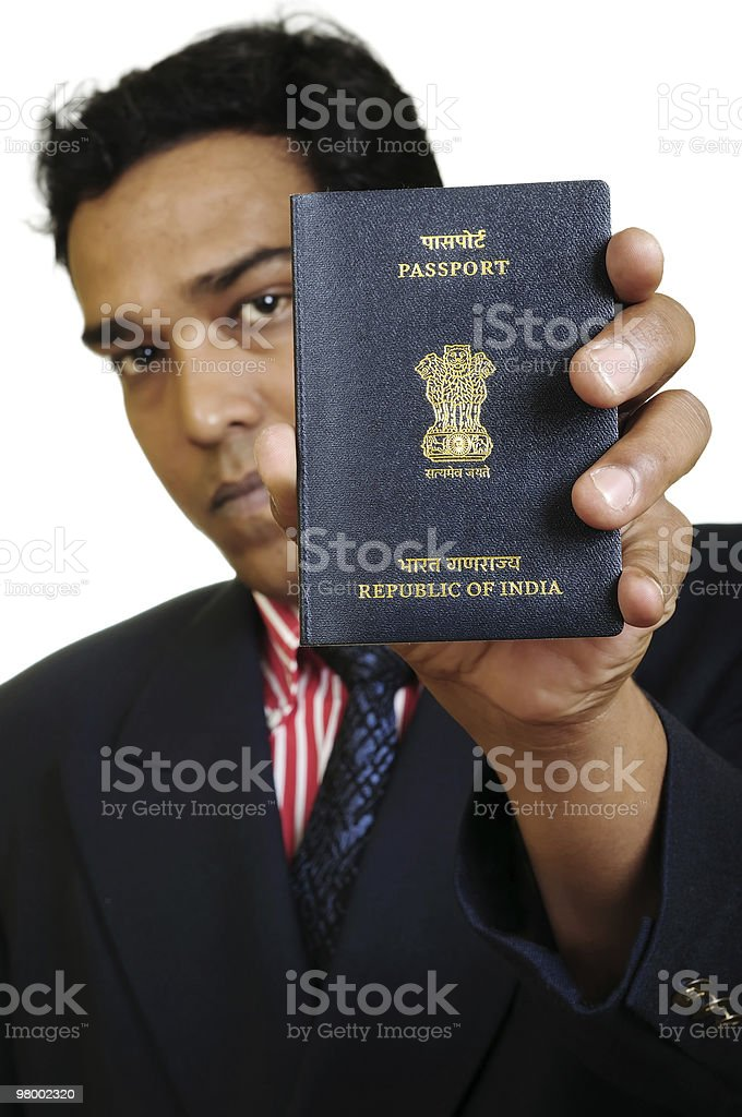 Man with Indian passport royalty-free stock photo