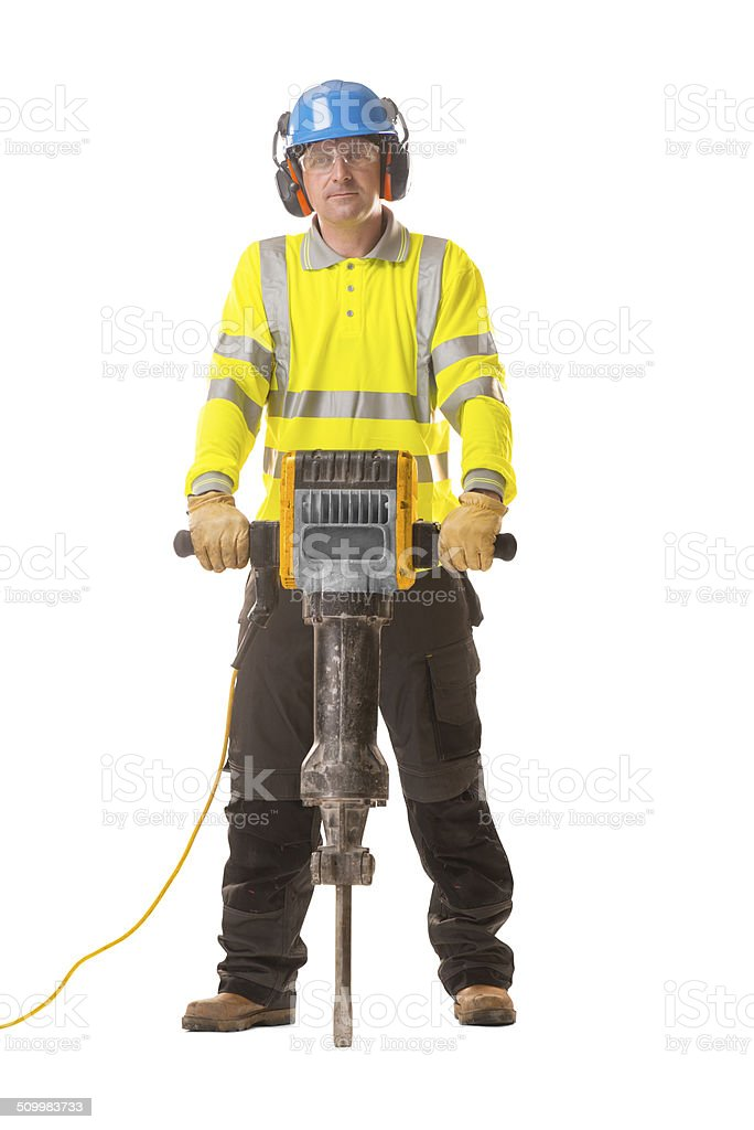 man with jackhammer isolated stock photo