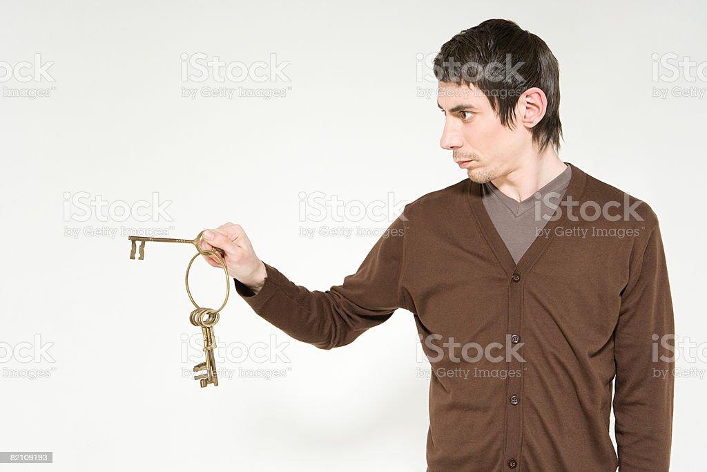 Man with keys royalty-free stock photo