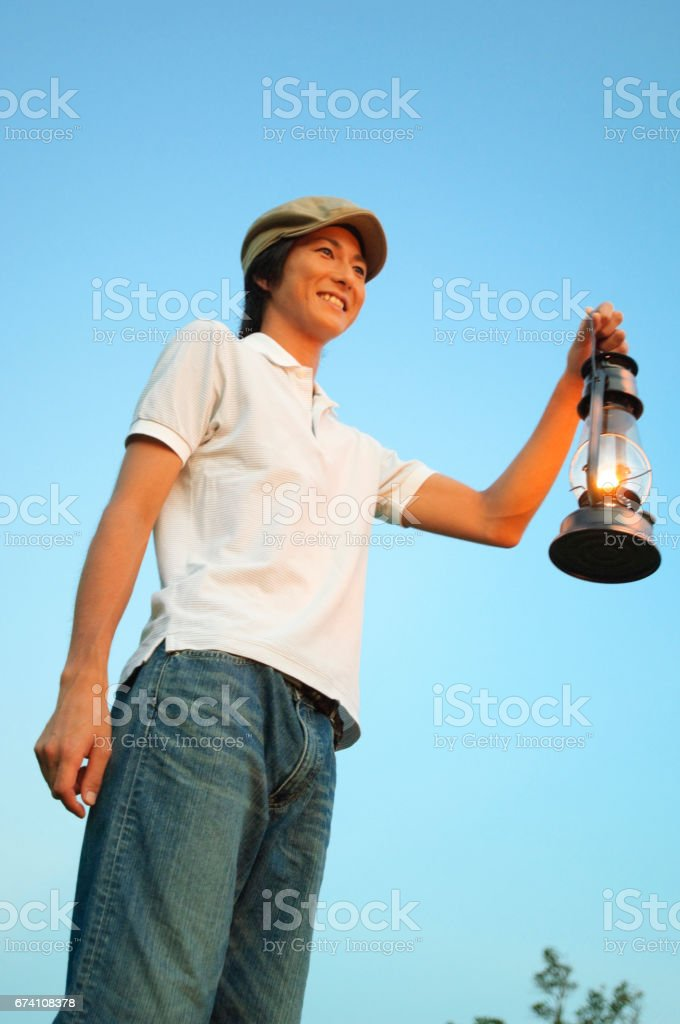 Man with Lantern royalty-free stock photo