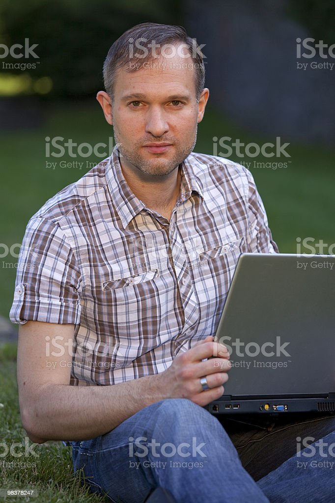 man with laptop computer royalty-free stock photo