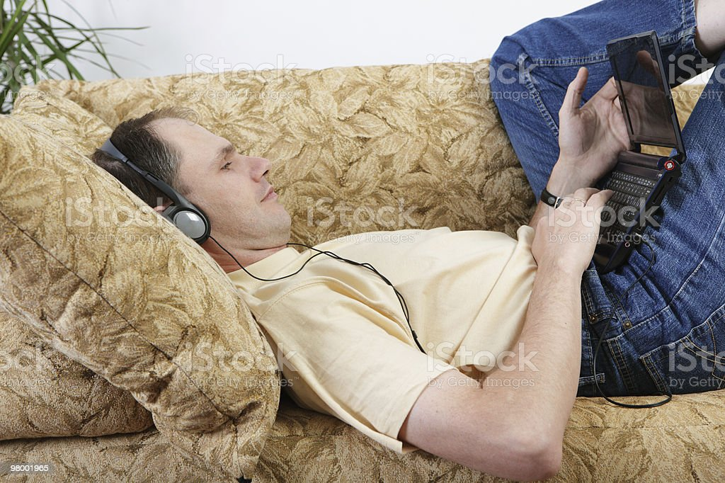 Man with laptop on a sofa royalty-free stock photo
