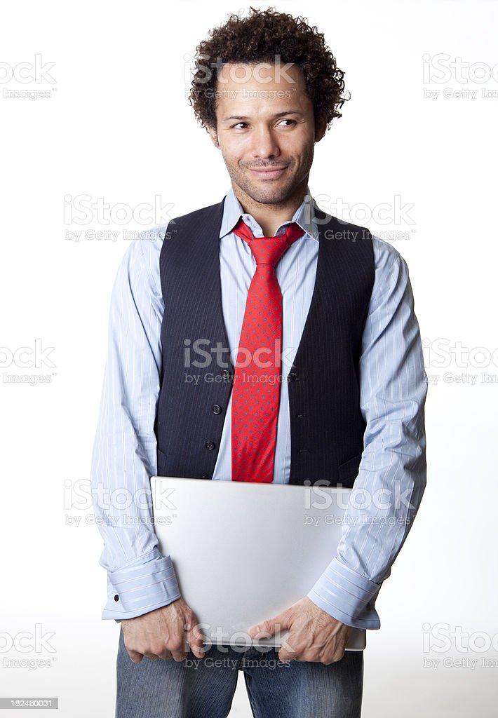 Homem com laptop foto royalty-free