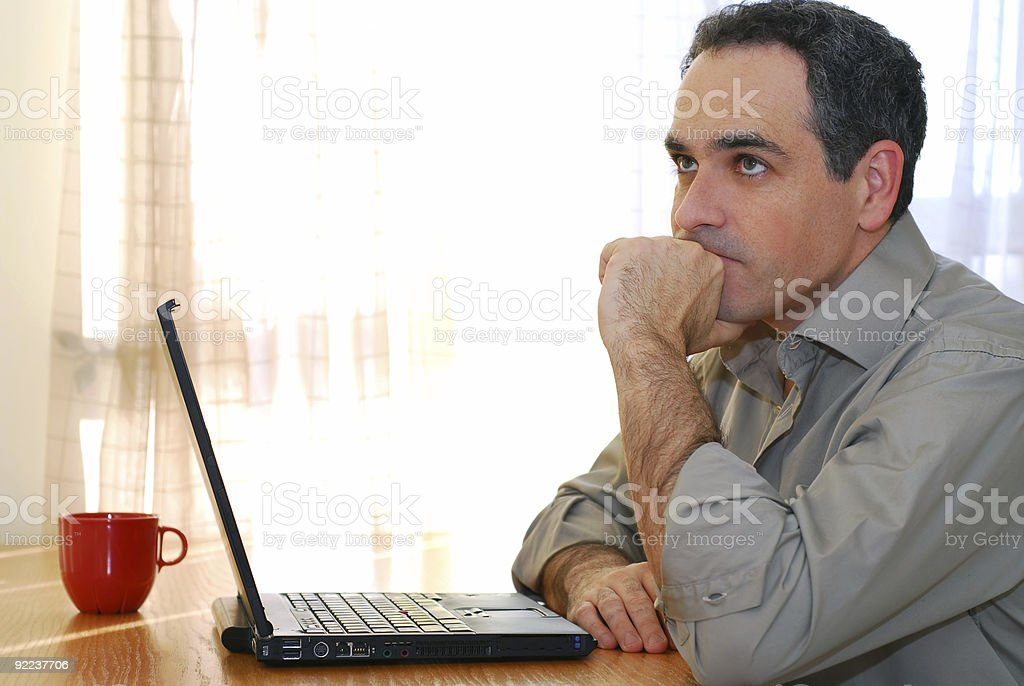 Man with laptop royalty-free stock photo
