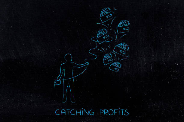 man with lasso catching profits stock photo