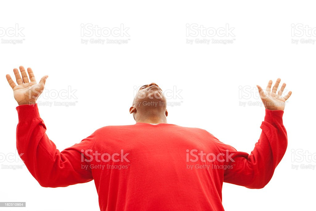 Man with lifited hands royalty-free stock photo