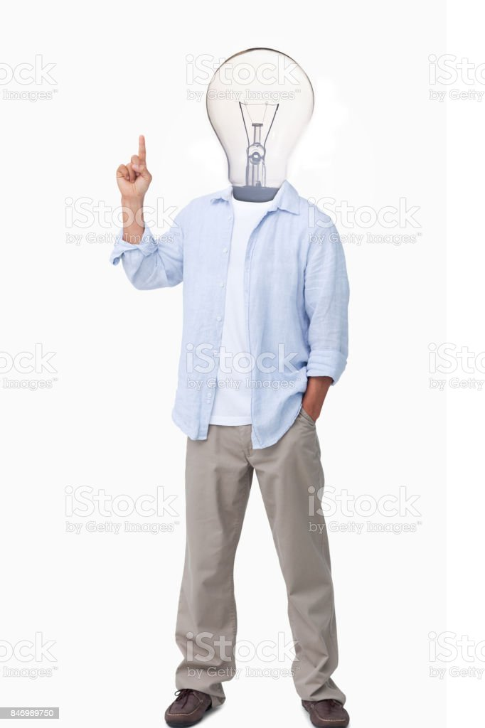 Man with light bulb head asking question stock photo
