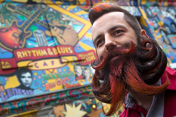 man with long beard and mustache stock photo