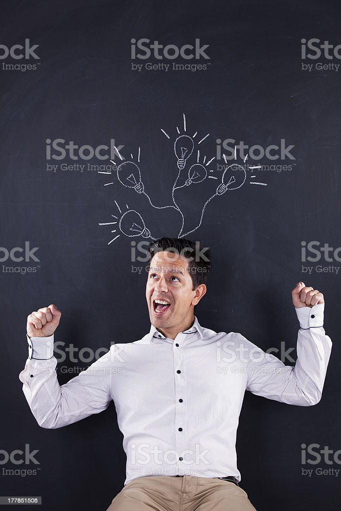 Man with lots of creativity royalty-free stock photo