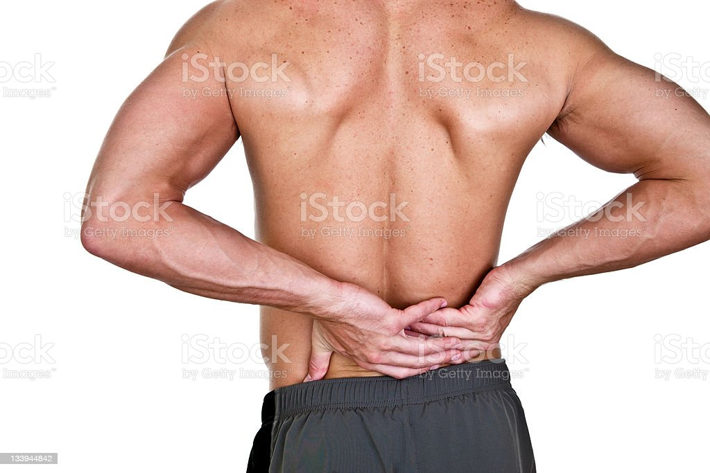 Man with lower back pain royalty-free stock photo