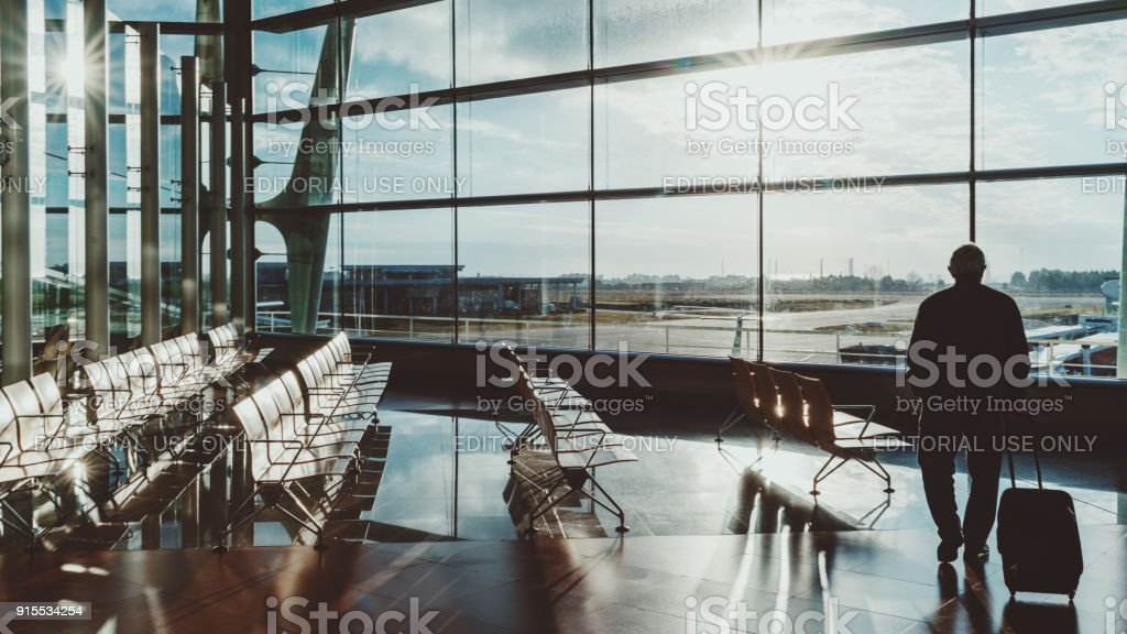 Man with luggage in airport terminal waiting hall stock photo