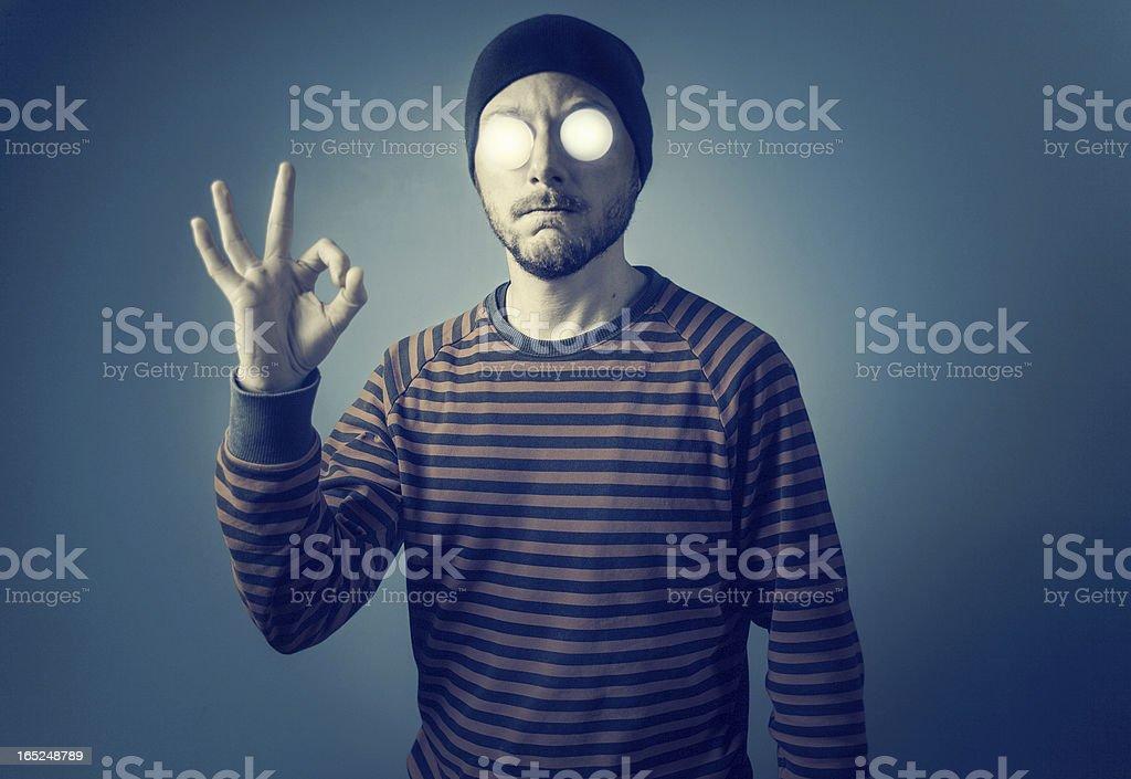 Man with luminous eyes royalty-free stock photo