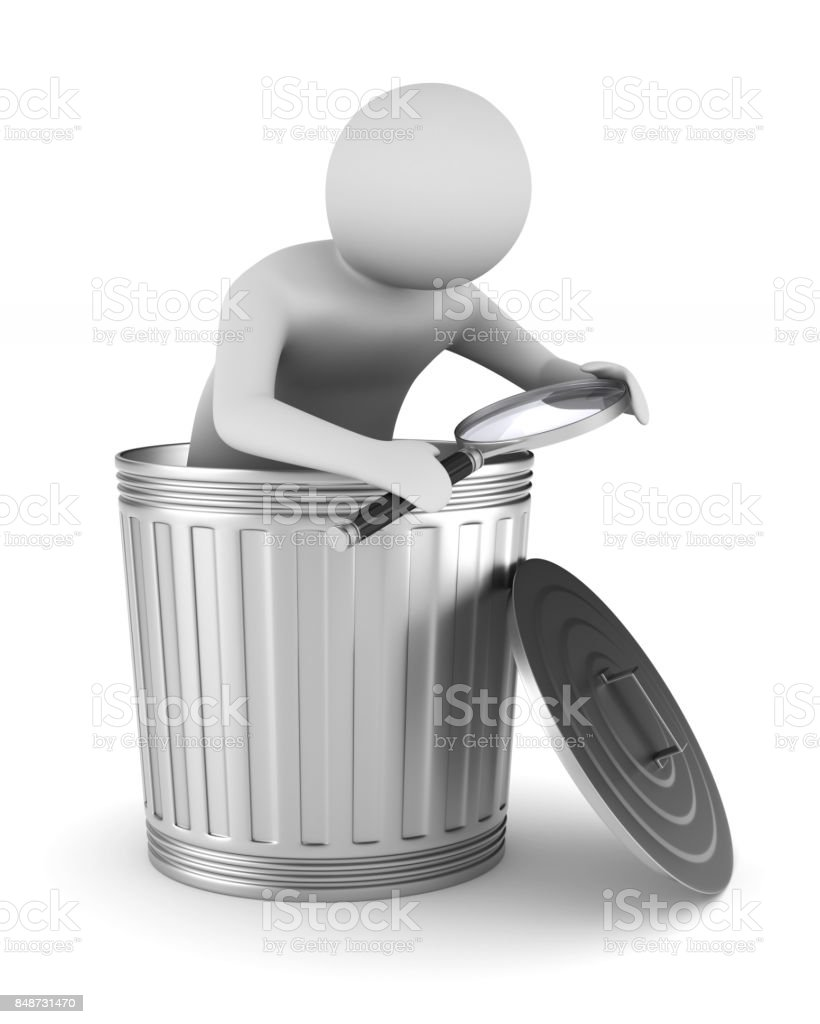 Man with magnifier and garbage basket on white background. Isolated 3D illustration stock photo