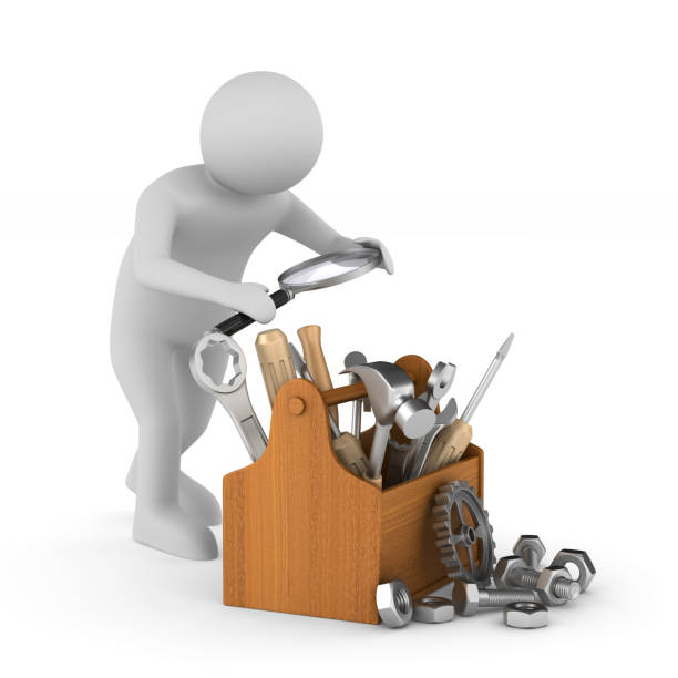mann mit lupe und toolbox auf weißem hintergrund. isolierte 3d-illustration - detektivhandwerk stock-fotos und bilder