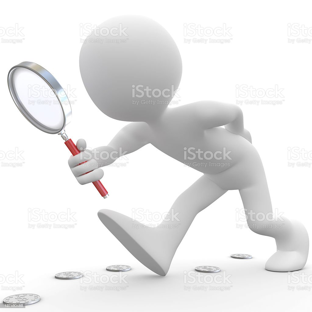 Man with magnifying glass looking for coins royalty-free stock photo