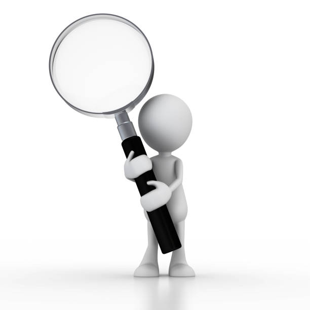 man with magnifying glass - stick figure stock photos and pictures