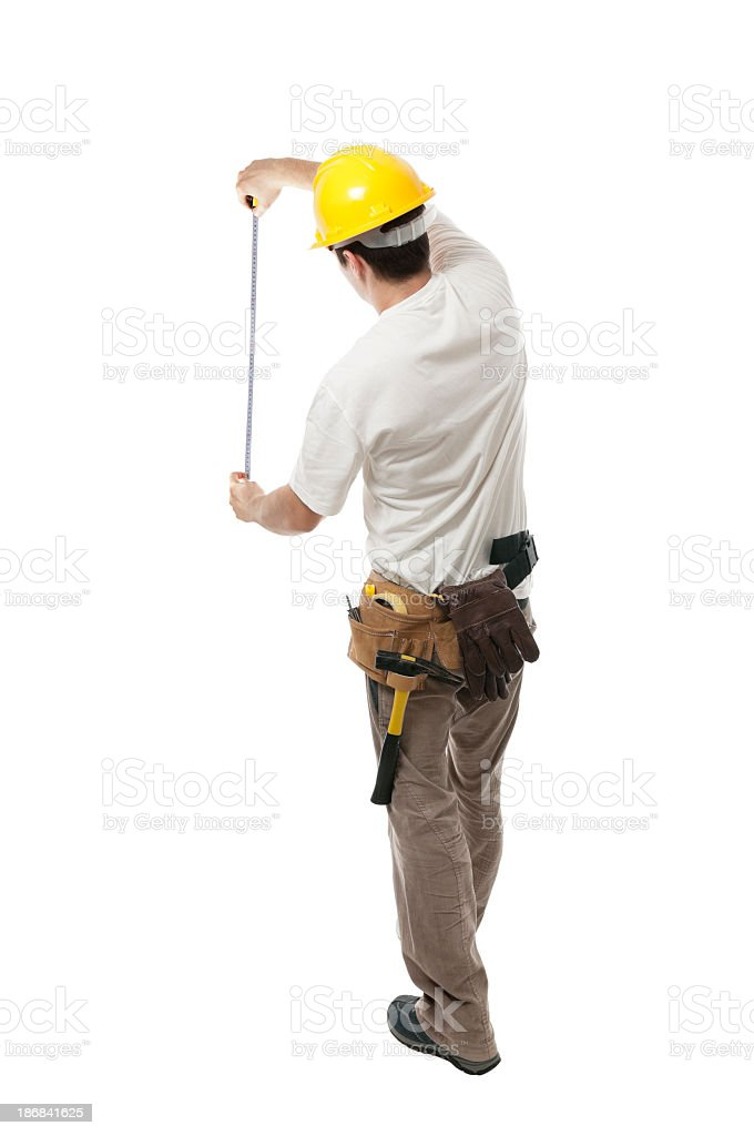 Man with measuring tool, isolated on white stock photo