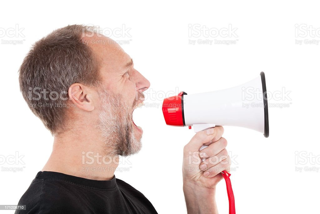 Man with megaphone royalty-free stock photo