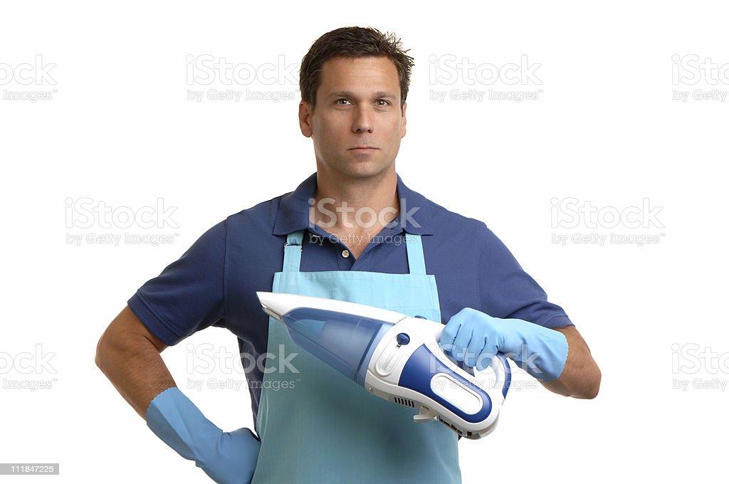 Man with Mini-Vac Vacuum Cleaner on White stock photo
