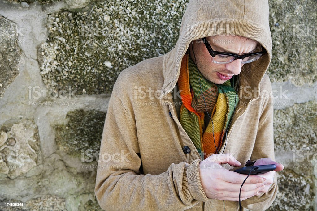 Man with mobile device royalty-free stock photo