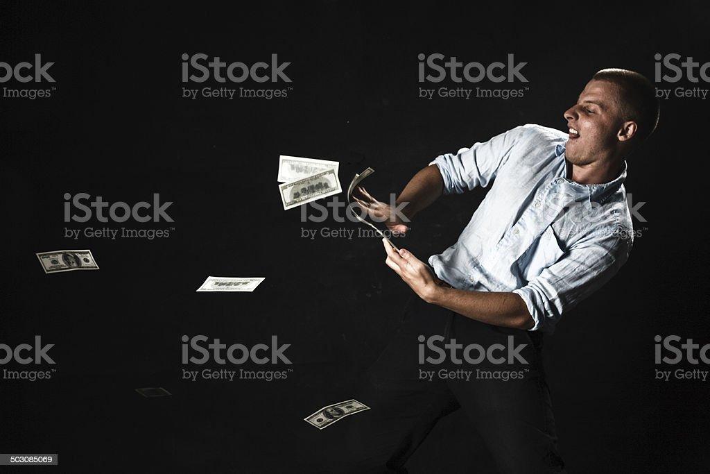 man with money stock photo