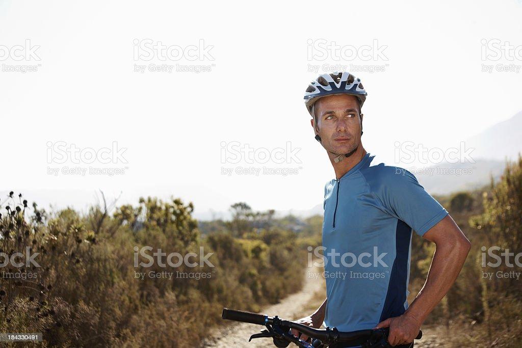 Man with mountain bike royalty-free stock photo
