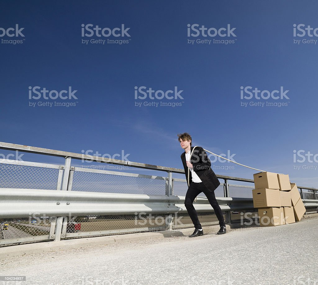 Man with Moving Boxes royalty-free stock photo