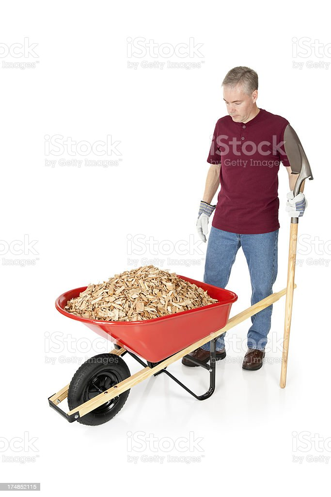 Man With Mulch Work To Do royalty-free stock photo