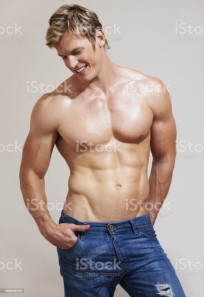 Man with muscles royalty-free stock photo