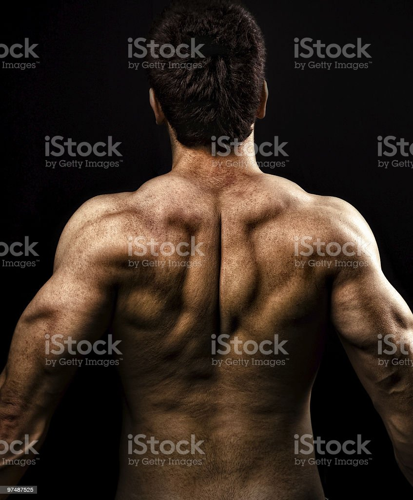 Man with muscular strong back royalty-free stock photo