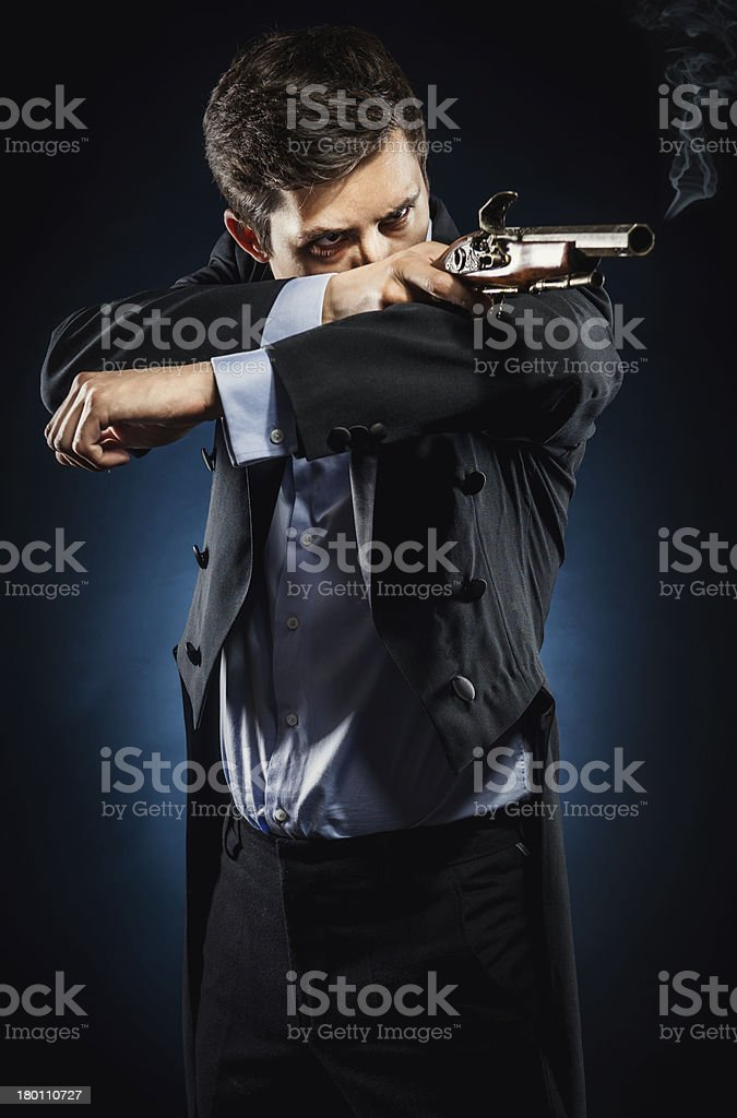 Man with musket royalty-free stock photo