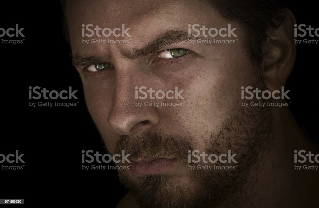 Man with mysterious eyes stock photo