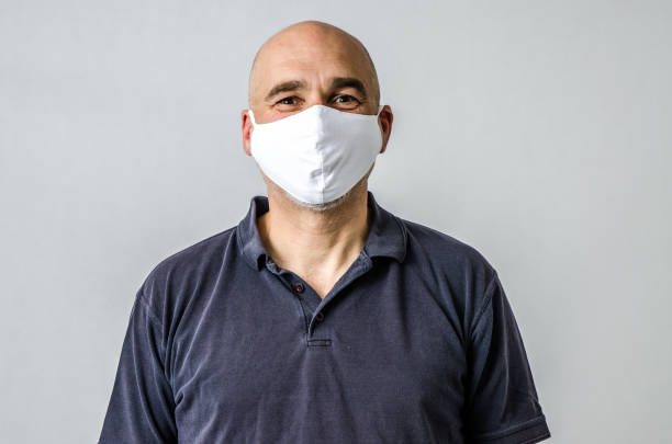 Man with N95 fabric face Mask